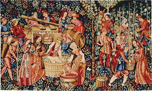 Bruges Tapestry wine-making