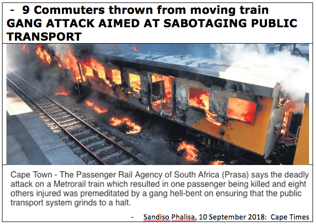 Gang attack to sabotage rail transport